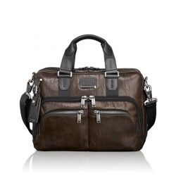 ALPHA BRAVO ALBANY SLIM PORTE DOCUMENT CUIR DARK BROWN